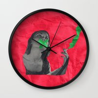cigarettes Wall Clocks featuring Watermelon Cigarettes by Alicia Ortiz