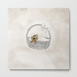 Cat in a Basket. Oh little blue eyes kitten. Metal Print
