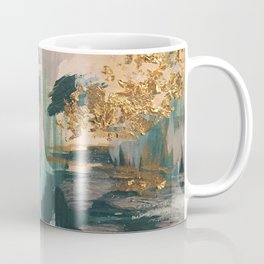Teal and Gold Abstract- 24K Magic Coffee Mug