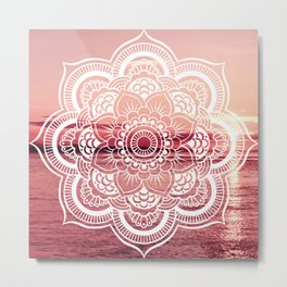 Mandala Water : Rose Pink Metal Print