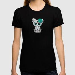 Blue Day of the Dead Sugar Skull Snow Leopard Cub T-shirt