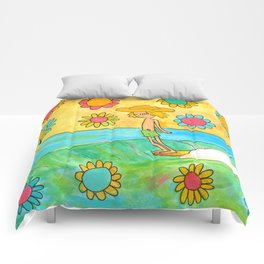 hang 10 groovy surf dude flower power Comforters