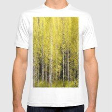 Lovely spring atmosphere - vibrant green leaves on the trees - beautiful birch grove White Mens Fitted Tee MEDIUM