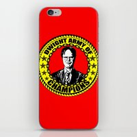 dwight iPhone & iPod Skins featuring Dwight Schrute (Dwight Army Of Champions) by Silvio Ledbetter
