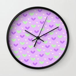 Purple and Green Hearts Wall Clock