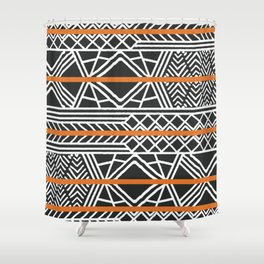 Tribal ethnic geometric pattern 022 Shower Curtain