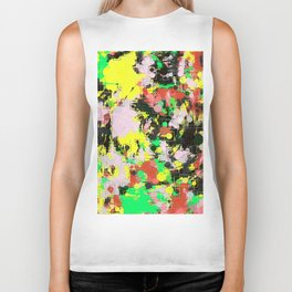 psychedelic geometric circle and square pattern abstract in green pink yellow black Biker Tank