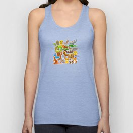 collection Funny cartoon Animals seamless pattern on beige background. Vector Unisex Tank Top