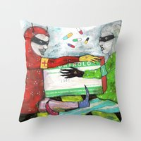 pills Throw Pillows featuring Pills by Franck Chartron