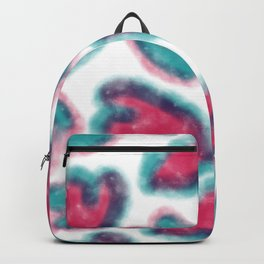Hand painted pink red teal watercolor romantic hearts Backpack