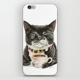 Purrfect Morning , cat with her coffee cup iPhone Skin