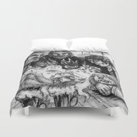 pirates Duvet Covers featuring PIRATES RUMORS by Anna Pietrawska