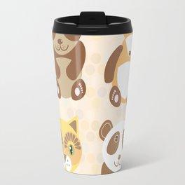 Funny cute raccoon, panda, fox, cat on dot background. Travel Mug
