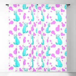 Little bears. Cute pretty funny blue baby bear cubs, bold pink retro dots seamless pattern design. Blackout Curtain