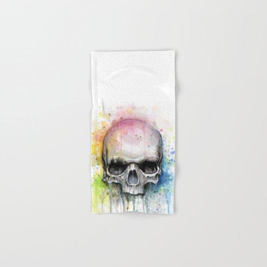 Skull Rainbow Watercolor Painting Hand & Bath Towel
