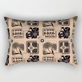Patchwork. Black pattern on beige background. Rectangular Pillow