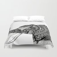 allison argent Duvet Covers featuring Allison Elephant Black and White by Laura Maxwell