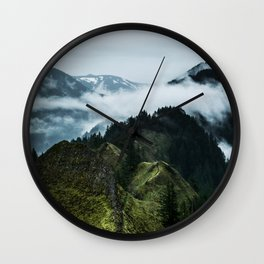 Foggy mountains Wall Clock
