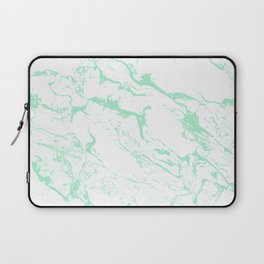 Trendy modern pastel mint green white marble pattern by Girly Trend Laptop Sleeve