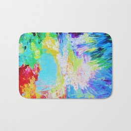 IN DREAMS - Gorgeous Bold Colors, Abstract Acrylic Idyllic Forest Landscape Secret Garden Painting Bath Mat