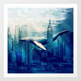 Blue Whale in NYC Art Print