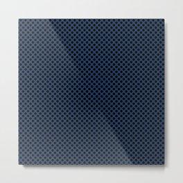 Navy Peony and Black Polka Dots Metal Print
