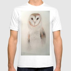 Owl in the fog MEDIUM Mens Fitted Tee White