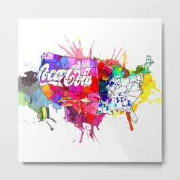 US Coke Map Metal Print