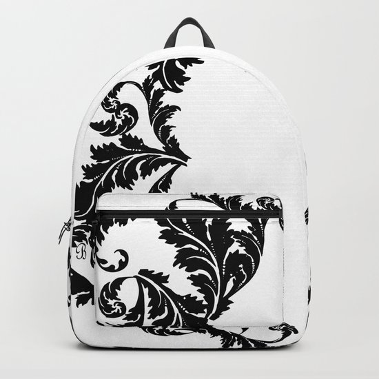 Black and white floral face ornament Backpack