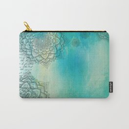MANDALA COLLAGE ON Aqua Watercolor Carry-All Pouch