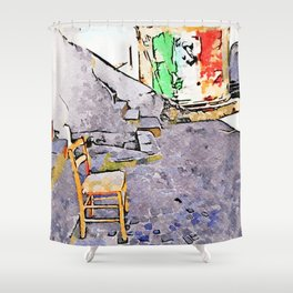 Tortora glimpse with chair and Italian flag painted on the wall of building Shower Curtain