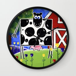 Smiley Smile Dairy Cow Farm Red Barn Moo Holstein Series Milk Flowers Trees Hills Tulips Wall Clock