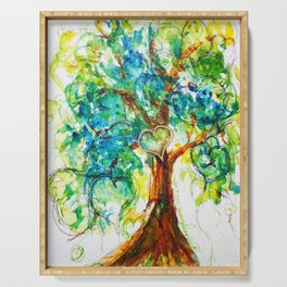 Gold Heart Tree Watercolor by CheyAnne Sexton Serving Tray