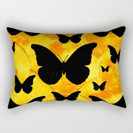 Harvest Gold Moons Black Butterfly Art Rectangular Pillow