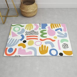 Helter Skelter - bright pattern, colorful, rainbow, abstract, shapes, pattern Rug