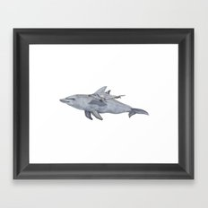 Dolphin Mama and Baby Framed Art Print
