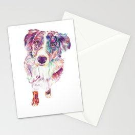 Multicolored Australian Shepherd red merle herding dog Stationery Cards