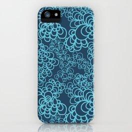 Blue Flower Doodle iPhone Case