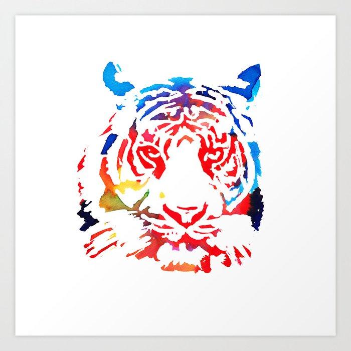 Rainbow Tiger Art Print By Kieransolley