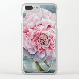 Peony Memories Flower Painting Clear iPhone Case