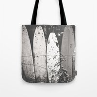 surfing Tote Bags featuring surfing by short stories gallery