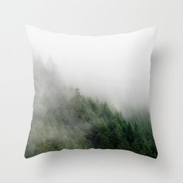 Foggy Oregon forest Throw Pillow