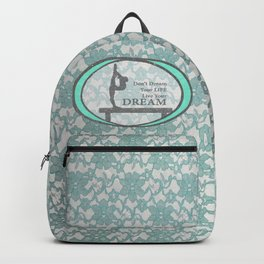 Gymnastics Live Your Dream Collection in Mint and Silver Lace Design Backpack