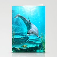 dolphin Stationery Cards featuring Dolphin by Simone Gatterwe