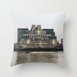 SIS Secret Service Building London And Rib Boat Throw Pillow