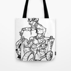 Skull Boy  on a Tricycle  Tote Bag