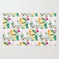 biology Area & Throw Rugs featuring Tropical Doodles by Doucette Designs