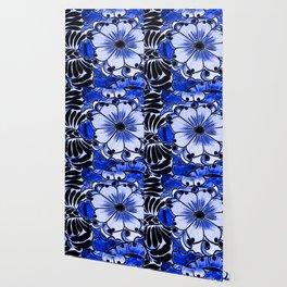 Indigo Blue Flower Wallpaper