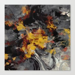 Yellow / Golden Abstract / Surrealist Landscape Painting Canvas Print