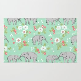 Elephants pattern mint blue with florals cute nursery baby animals lucky gifts Rug